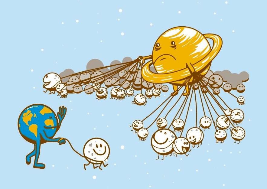 Благодарности, смешные рисунки планет